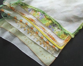 Wedding Garland, Vintage Handkerchief Garland Yellow and Green