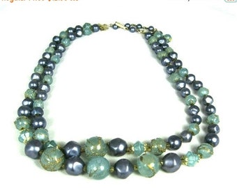 Sale Vintage Two Strand Blue Gray Bead Necklace Hong Kong