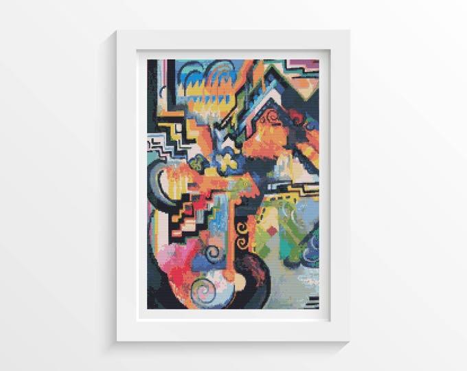 Cross Stitch Pattern PDF, Embroidery Chart, Art Cross Stitch, Color Composition Homage to Johann Sebastian Bach by August Macke (MACKE05)