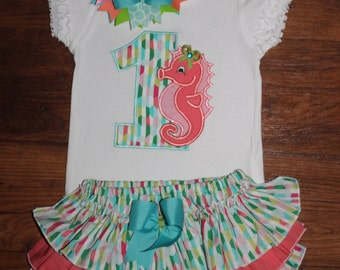 Seahorse First Second Ruffled Bloomers or Skirt Outfit with Matching Bow