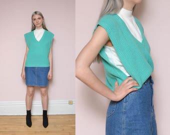 80s Blue Green Sweater Vest L V Neck Plunging Cut Out Sides Chunky Knit Preppy Schoolgirl Sailor Vest Oversized Sweater