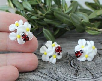 White Daisies beads, 1 pc Daisy Lampwork Flower Beads, Flower Beads, Lampwork Beads, Lampwork Glass Beads, Handmade Lampwork Beads, Lampwork
