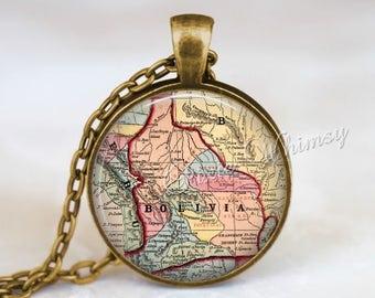 BOLIVIA MAP Necklace Pendant, Bolivia Keychain, Antique Bolivia Map Jewelry, Vintage Bolivia Map Jewelry, South America, Bolivian Souvenir