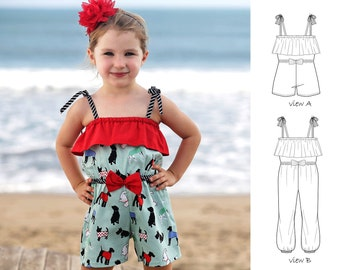 Romper pattern, Girls Romper pattern, Sunsuit pattern, Childrens sewing pattern PDF, Girls sewing pattern,  Romper Sewing Pattern, STARLING