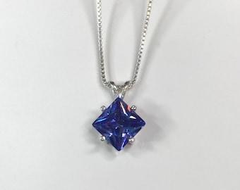 Beautiful 2ct Princess Cut Tanzanite & Sterling Silver Pendant Necklace Square Tanzanite Fine Jewelry Trends Tanzanite Pendant December