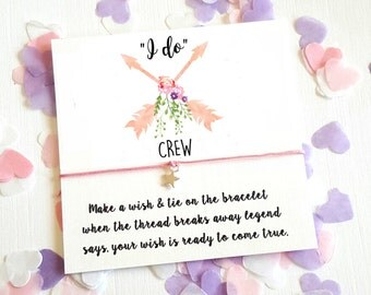 Wish String Bracelet I do Crew Arrows Wedding Wreath Favour Card Hen Party A117 Vintage Boho