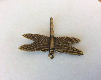 Antique bronze dragonfly charm pendant