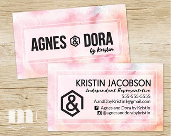 Custom Business Cards Agnes & Dora, Agnes and Dora Consultant Biz Card, Pink Watercolor, Personalized Marketing Kit and Branding, PRINTABLE