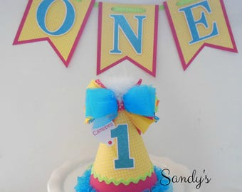 Package-CREATE A HAT/BANNER - Create Your Own Colors Party Hat and Highchair Banner - Personalized Party Hat