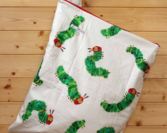 Cloth Diaper Wetbag, Very Hungry Caterpillar, Diaper Pail Liner, Diaper Bag, Day Care Size, Holds 12 Diapers, Size Large with Handle  #L89