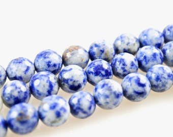 Dumortierite-Dumortierite Beads-10mm Faceted Gemstone Rounds-Denim Lapis-Round Faceted Denim Lapis Beads-10mm Round Denim Lapis Beads