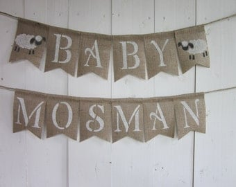 Lamb Baby Shower Banner - Lamb Shower Bunting - Lamb Baby Shower Garland - Lamb Baby Shower Decor - Burlap Sign Flags