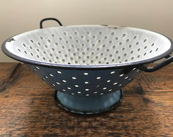 Vintage Rustic Farmhouse Enamel Colander Strainer White and Speckled Blue with Pedestal Base - Rustic Bowl or Wall Art