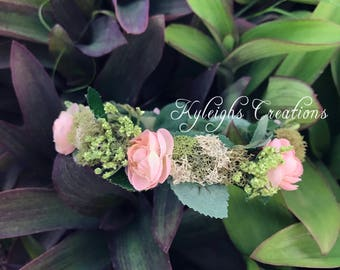 Newborn moss flower halo, flower halo, earthy headband