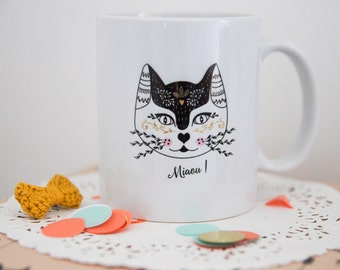 Le Mug Mlle Minette, tasse céramique chat, cat lover, mug animal, illustration