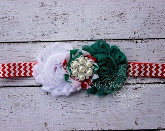 Red & Green Holiday Headband- Holiday Headband- Christmas Headband- Chevron Headband- Red and Green Headband- Headband- Photo Prop