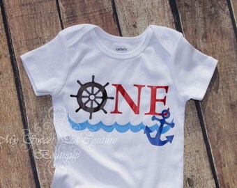 Nautical First Birthday Outfit- First Birthday Outfit- 1st Birthday Outfit- Nautical Birthday- 1st Birthday- Sailing Birthday- Anchor- One
