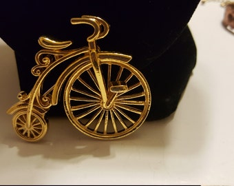 Vintage Gold Tone High Wheel Bicycle Brooch