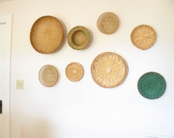 Vintage boho basket wall art / basket collection/ wall hanging / green / woven home accent
