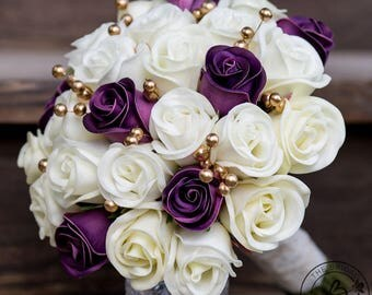 Purple wedding bouquet, gold bridal bouquet, purple and gold wedding, real touch ivory wedding flowers, wedding bouquet purple alternative