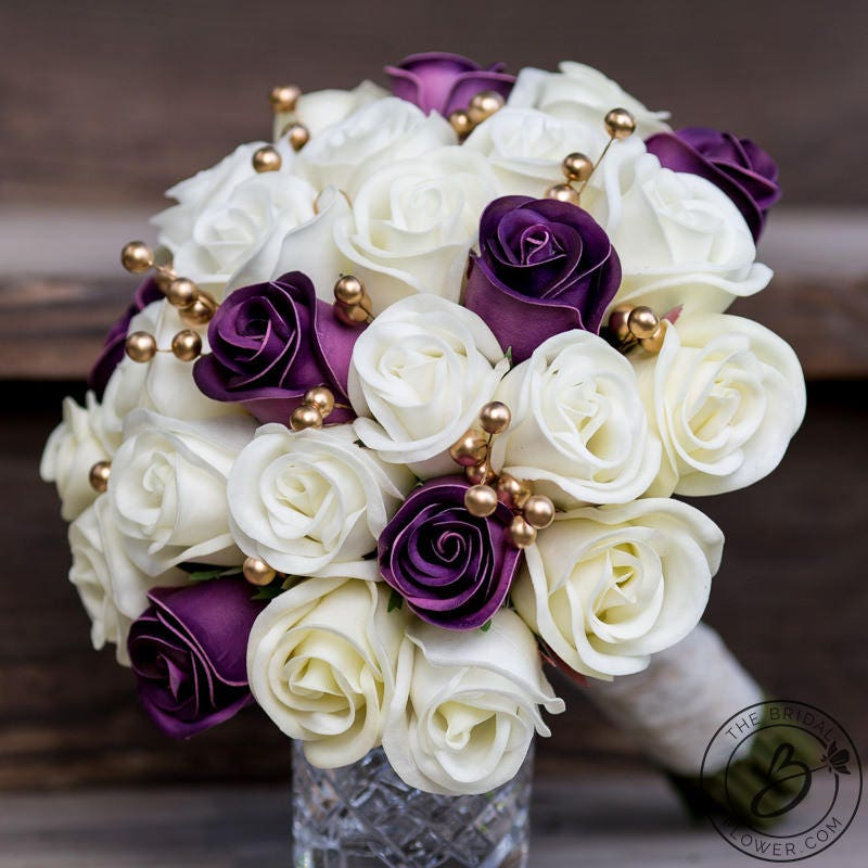 White And Gold Wedding Flowers: Purple Wedding Bouquet Gold Bridal Bouquet Purple And Gold