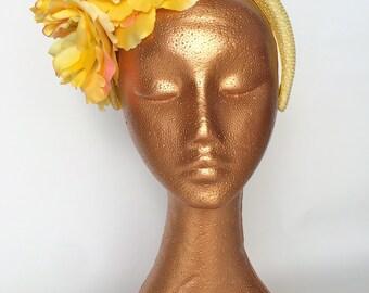50% OFF Yellow Vintage straw Flower Headband