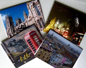 Note Cards, England, Anglophile, Stationery, Photo Greeting Cards, Premium Quality, Set of 4 With Envelopes