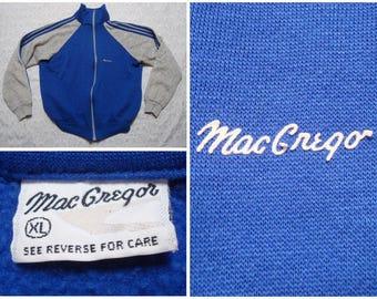 Vintage Retro Men's 80's MacGregor Track Jacket Blue Grey Three Stripes Full Zip Jacket XL Made in USA