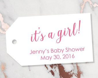 It's a Girl Tag - Baby Shower Tag - It's a Girl Tags - Pink Tags - Baby Tags - Gender Reveal Tags - Baby - Baby Shower Favors - LARGE