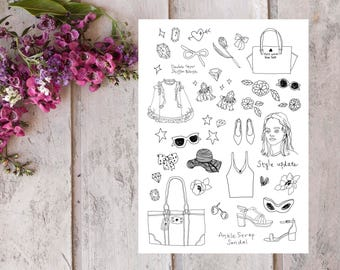 Hand illustrated Fashion Sticker Sheet