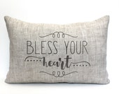 "bless your heart pillow, rustic pillow, farmhouse pillow, farmhouse decor, phrase pillow, ""bless your heart"""