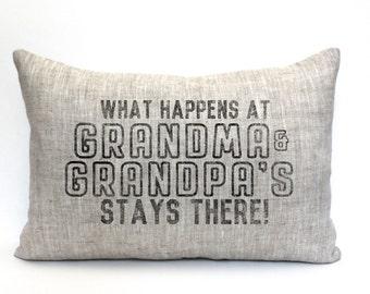 """grandparent christmas gift, grandparent gift, grandparent pillow, gift for her, name pillow, family pillow, - """"The Grands"""""""