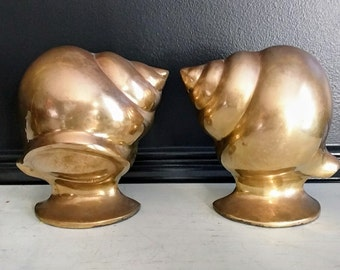 Vintage Brass Conch Shell Bookends / Brass Collections / Mid-Century Beach Brass