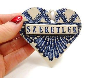 Szeretlek Ornament, Hungarian Wedding Ornament, Hungarian Decor, Bridal Shower Favor, I Love You Hungarian, Engagement Gift,Bride to be Gift