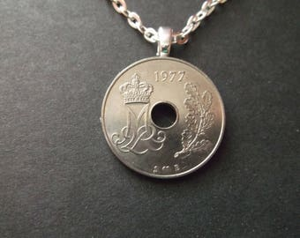Danish 25 ORE Coin Necklace from Denmark dated 1977- Denmark Coin Pendant