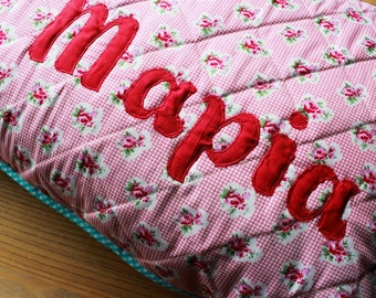 Quilted pillow cover for a girl named Maria with name applique