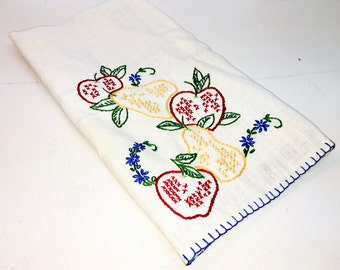 Vintage Linen Towel Tea Kitchen Towel Fruit Embroidery and Stripes. Boho Kitchen Charm.