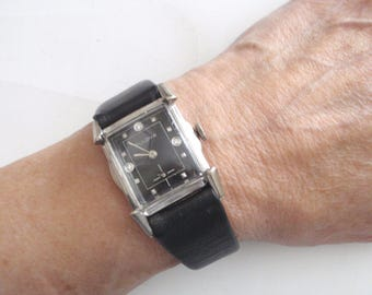 1940's Vintage Bulova Watch - Three Diamond Hour Markers - White Gold Plated - Flared Fancy Lugs - Black Dial - Unisex Wristwatch