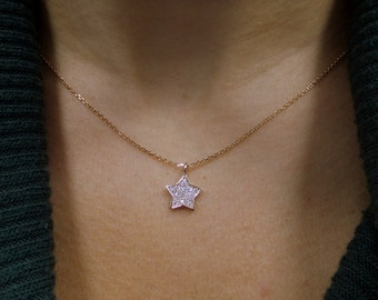 Star Necklace 14k Rose Gold 0.20ct SI 1 Clarity G Color/ Rose Gold 14k Star Necklace 0.20ct/ Minimalist Star Necklace