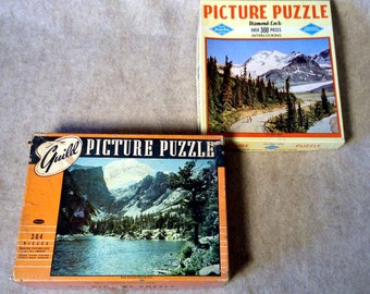 2 Vintage Jigsaw Puzzles  Warren Built-Rite and Whitman Guild - Scenics - Complete with all Pieces
