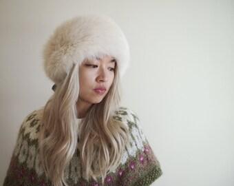 Fox Fur Earmuffs Headband hat Ear Warmer head warmer