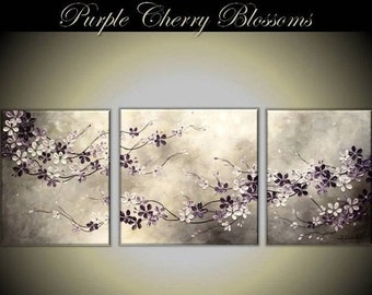 """CUSTOM ORDER  Original Modern Impasto Painting on Gallery wrapped Canvas 52"""" x20"""" Home Decor, Wall Art --- Cherry Blossoms---- by Tomoko--"""