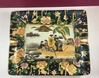 Vintage Asian Geisha Scene Satsuma Style Ashtry Trinket Tray Tabacciana Collectibles