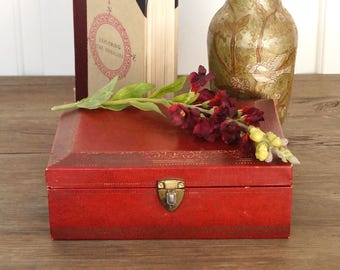 vintage ombre red and gold jewelry box MELE boho glam