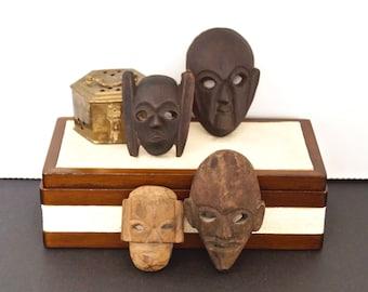 vintage tribal masks carved wood set of four mini masks