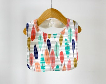 Baby/Toddler Bib, Sunrise Canyon Feathers Cotton with Organic Bamboo Terry