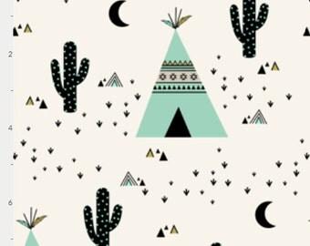 Baby Bedding Crib Bedding - Teepee Cactus Mint Black - Baby Blanket, Crib Sheet, Changing Pad Cover, Boppy Cover, Crib Skirt