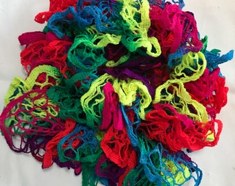 Neon Colors Variegated Decorative Ruffle Scarf