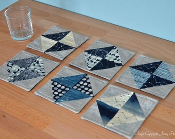 Astronomy drinks coasters space and lunar moon phases and stars. Quilted drink coasters, patchwork coasters. Machine washable reversible UK