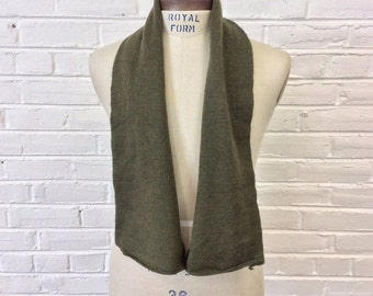 Vintage 1980s US Army Wool Olive Green Scarf 2211